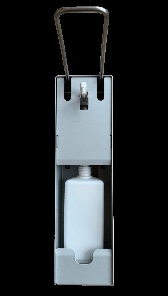 Eurospender aus Edelstahl für die hygienische Handdesinfektion. Sofort einsatzbereit, für 500ml und
